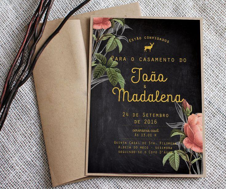 Convite de casamento da Madalena e do João, que queriam algo chique e elegantesem esquecer o lado campestre do local da cerimónia e copo d'Água. Paraencomendarem os vossos convites de casam…