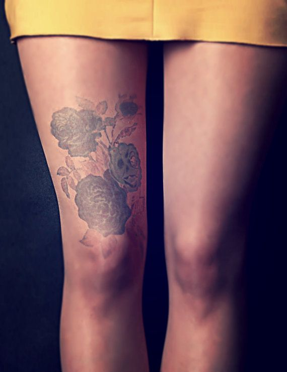 Dark Flowers - Tattoo Tights - Free Shipping - Made to order :)