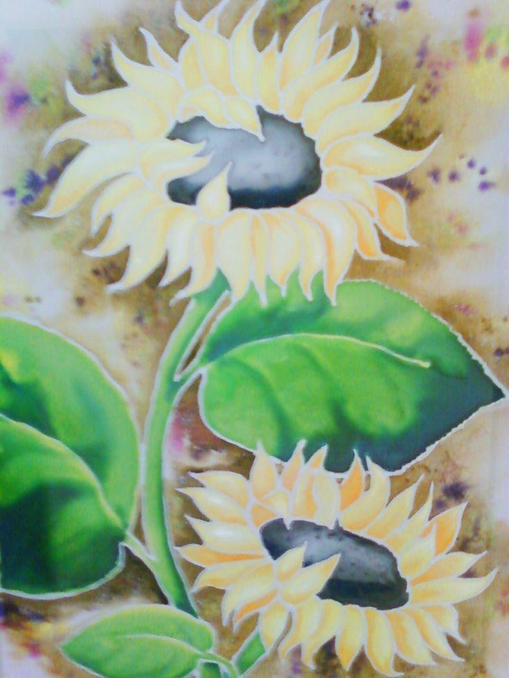 искусство, картина, батик, цветы, подсолнухи, art, picture, batik, flowers, sunflower