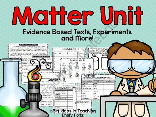 Matter Unit Evidence Based Passages, Experiments, and More!! from Big Ideas in Teaching By Emily on TeachersNotebook.com -  (69 pages)  - There are 5 lessons included in this Matter unit.  Evidence based passages covering properties of matter, forms of matter, physical changes in matter, chemical changes in matter, and measuring matter.