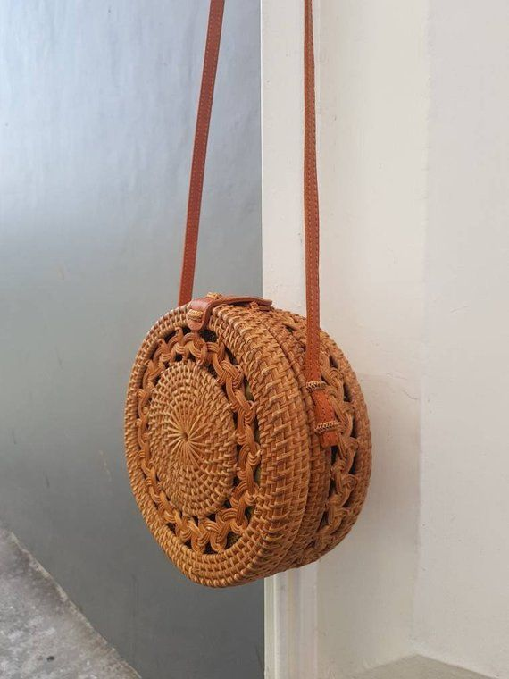 135805c39a Brown Handwoven Round Rattan Bag Bali With Double Braid Pattern - Straw Bag  - Ata Grass Bag - Straw