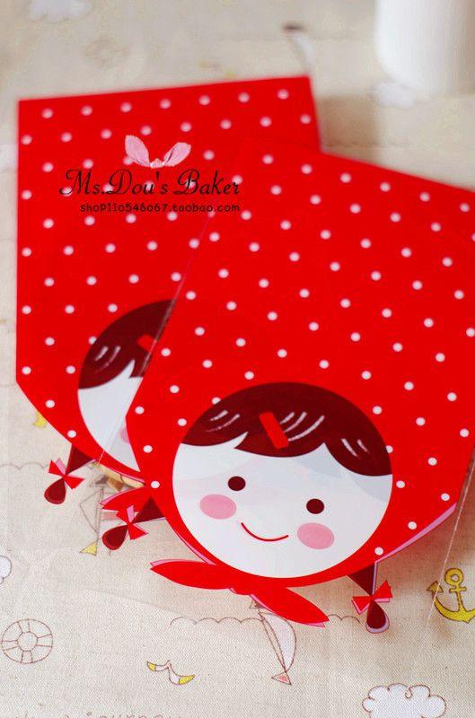 100 шт./лот пластиковые мешки 13x22 см красная шапочка куклы мешки для упаковки дипломатической почты обертки кекс Бесплатная доставка