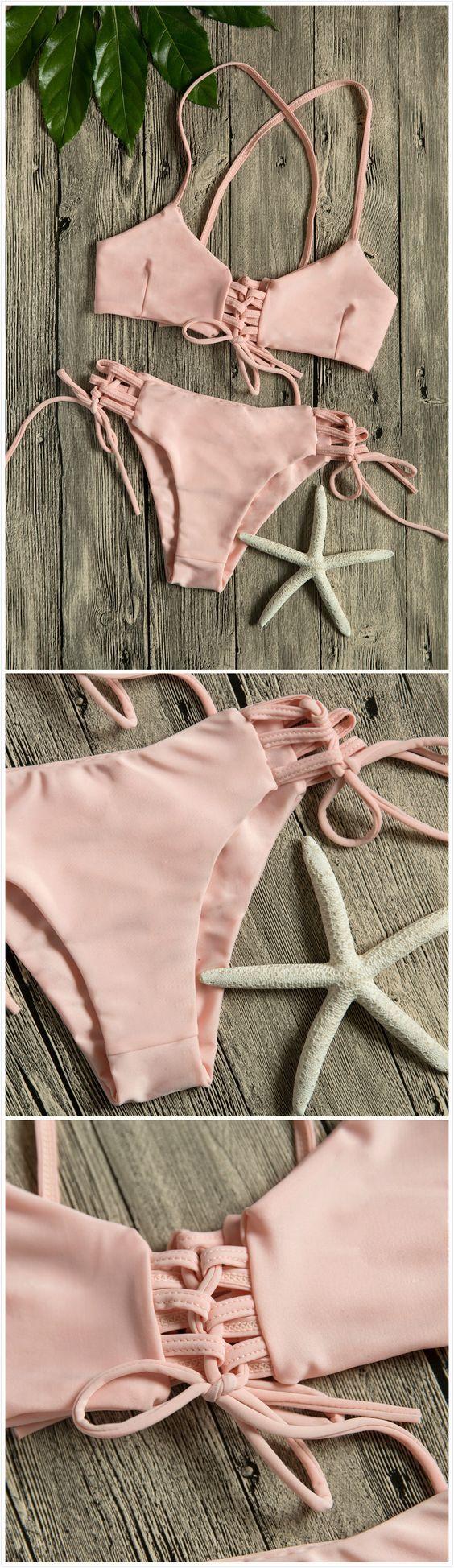 Women Multi-tie Lace-up Two Piece Swimsuit Bikini