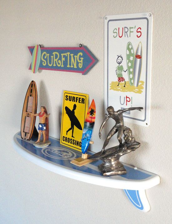 Surf U0026 Beach Decor   Floating Surfboard Shelf   Blue/White