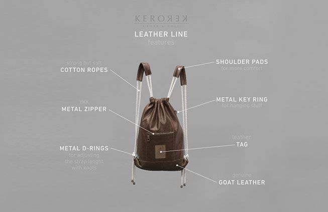 Leather drawstring backpack with personality for my brand Kerorek. The Kerorek bags will be soon available for pre-order in Indiegogo. The bag will be available both in leather and in all vegan canvas series.