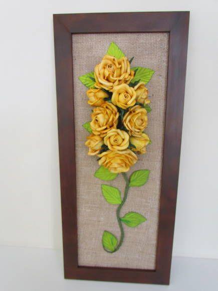 Quadro Rosas em EVA   Artes de Mimar   344EEC - Elo7 90,00