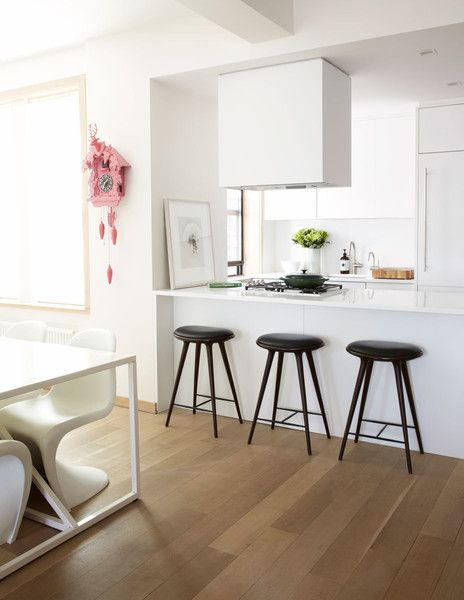 Contemporary Modern Kitchen: Contemporary bar stools in all-white kitchen..