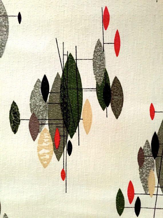 George Jetson Chic Atomic Barkcloth// Mid Century Mod Fabric// Cotton Yardage// Upholstery / Drapery// Home Decor// New Old Stock
