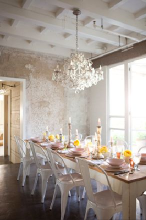 Tolix Chair   #dining  so pretty: Dining Rooms, Ideas, Interior, Chandelier, Chairs, Diningroom, Table Setting, House, Design