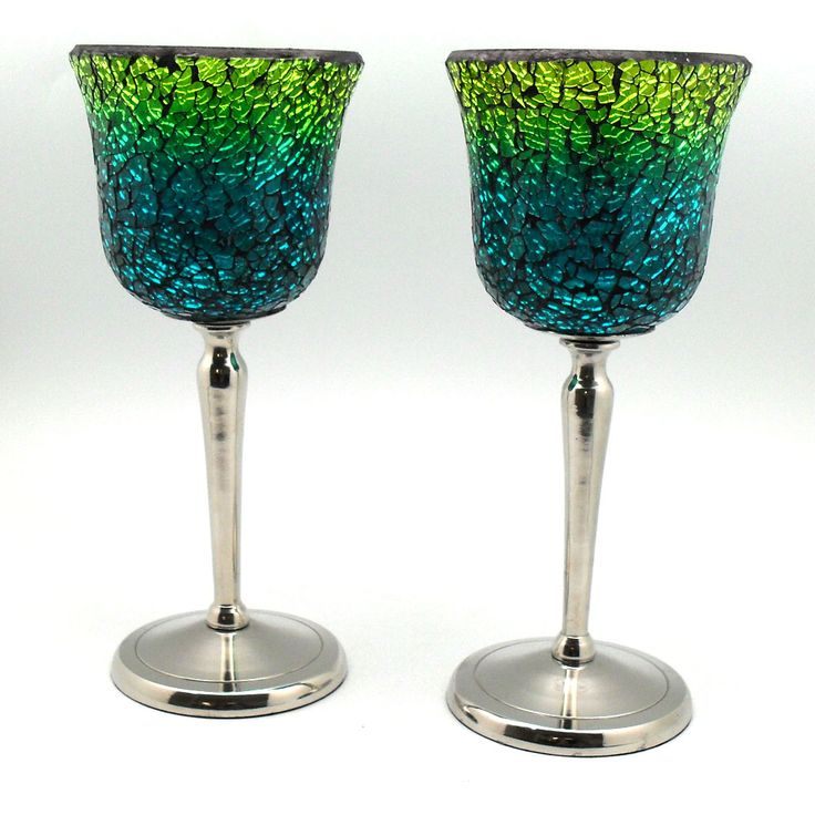 Green mosaic tea light candle