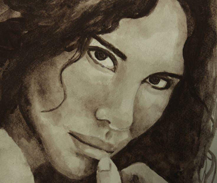 Watercolor portrait brunette girl with dark hair. Портрет углем акварелью брюнетки с темными глазами by teslimovka on Etsy
