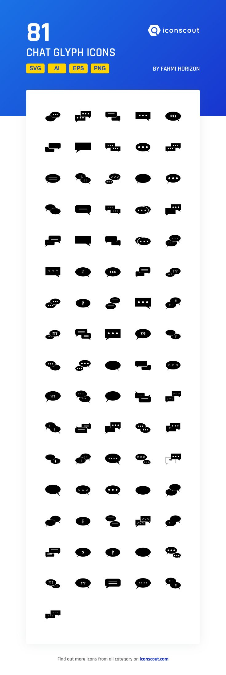 Chat Glyph  Icon Pack - 81 Solid Icons