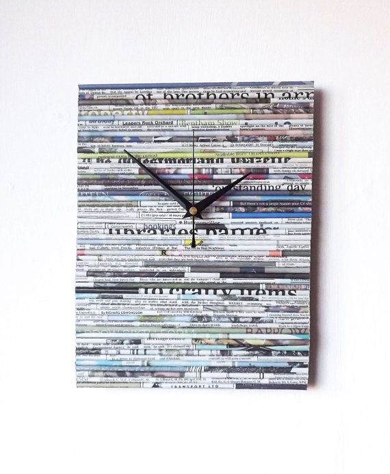 Newspaper Wall Clock - Paper Clock - Upcycled Recycled Newspaper - Paper Anniversary - Rectangular Wall Clock - Paper Wall Art Quilled Clock