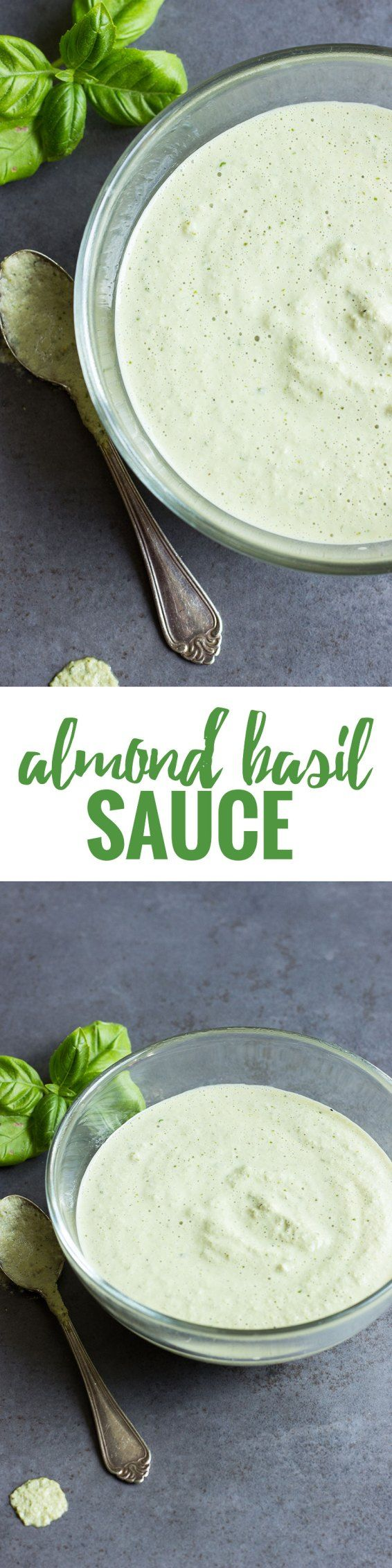 This VEGAN & GLUTEN FREE almond basil sauce is the best condiment to salads, fish and even pizza! See more at www.nutritionistmeetschef.com