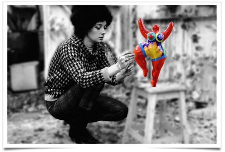 The Painted Prism: WOMEN ARTISTS: Niki de Saint Phalle -- painting one of her miniature Nana's