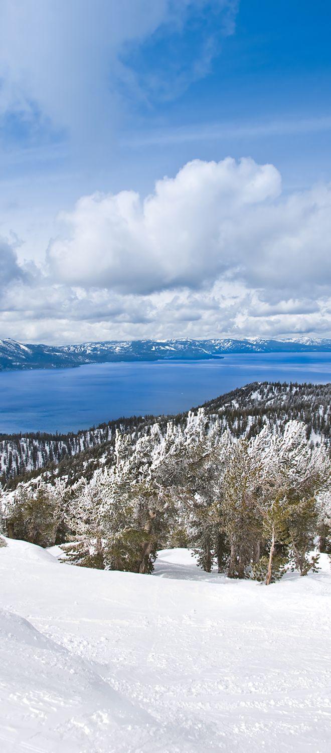 View from Heavenly Ski Resort. Lake Tahoe winter wonderland.