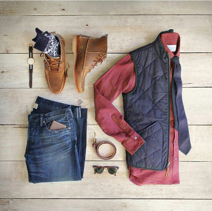 Outfit grid - Body warmer, jeans & boots http://www.99wtf.net/category/men/mens-accessories/