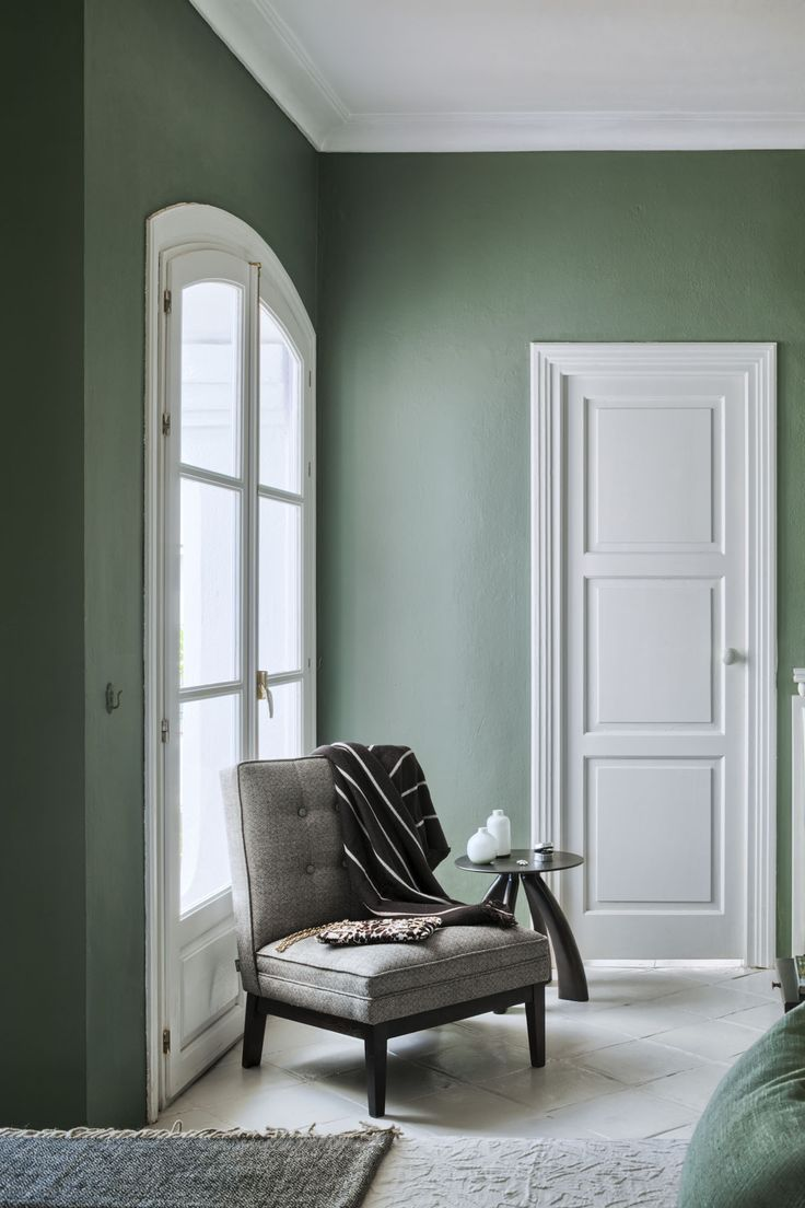 Farrow and Ball Green Smoke - living room/den. A weathered shade of smoky green…