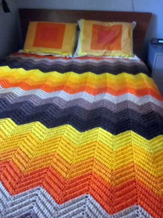 ORANGE chevron blanket AFGHAN  Mod  RETRO  by welovelucite, $54.00