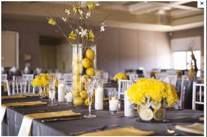 wedding ideas yellow and gray grey table linen wedding table decor table 28367