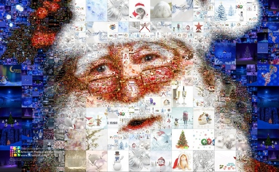 Santa Claus Collage made from Christmas tree decorations, presents, and other Christmas pictures