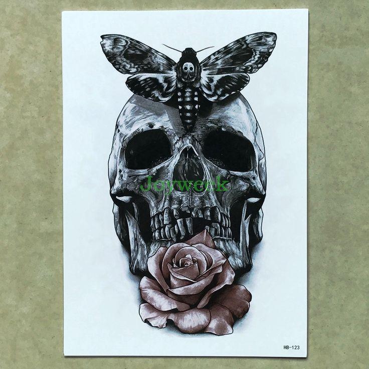 Waterproof Temporary Tattoo Sticker large skull moth rose