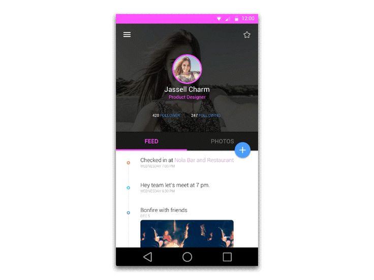 User Profile.  #MaterialDesign #UI #UserInterface #Design #Mobile #Animation #android #Google