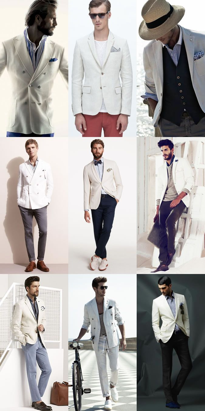Men's White Blazer Spring/Summer Outfit Inspiration Lookbook