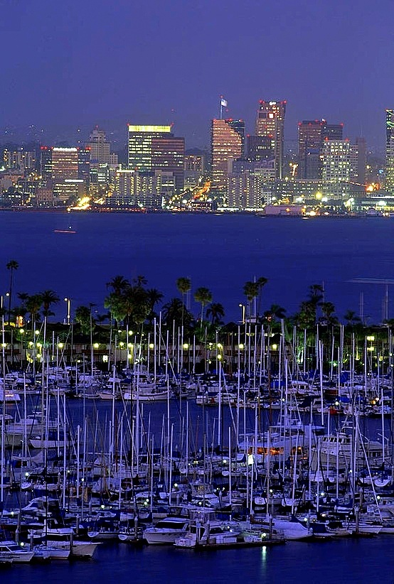 Shelter Island yacht harbor with skyline of San Diego, California