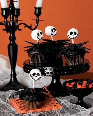 Skeleton Jack cake pop idea for finale-  make silicon mold of scull, press cake pops, dip in white chocolate, paint w/ food color markers