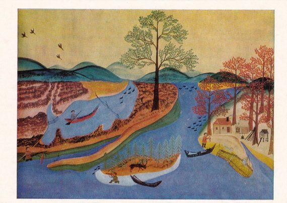 K. Pankov Blue lake Print Postcard  1984 by RussianSoulVintage
