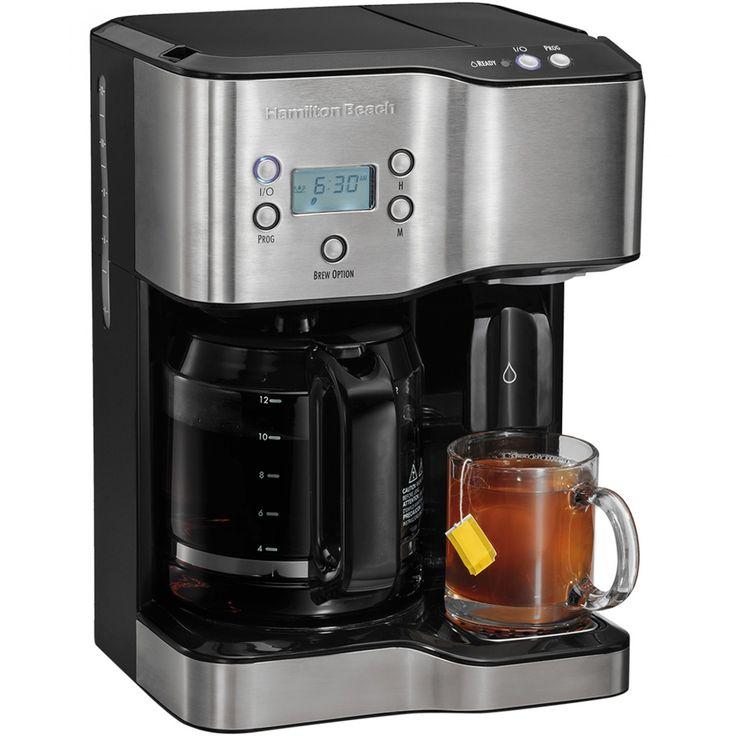 Cafetera Hamilton Beach programable para 12 tazas elaborada en acero inoxidable con dispensador de agua caliente ideal para preparar café o té; 2 electrodomésticos en 1. Cuenta con filtro cónico para un mejor sabor apagado automático y dos tipos de pre