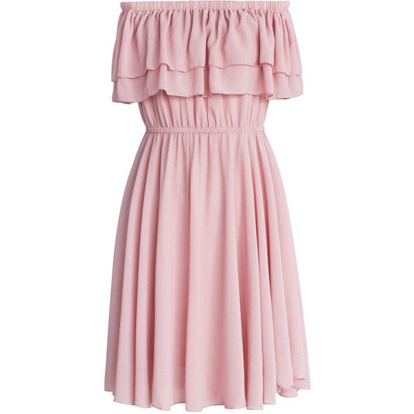 Chicwish Endless Off-shoulder Frilling Dress in Pastel Pink ($45) ❤ liked on Polyvore featuring dresses, pink, chiffon dresses, ruffle dress, pink cocktail dress, ruffle hem dress and off shoulder dress