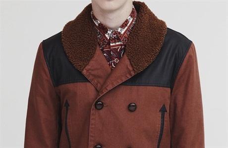From scene 4 outfit 6:  Topman burnt orange faux fur collar coat £85