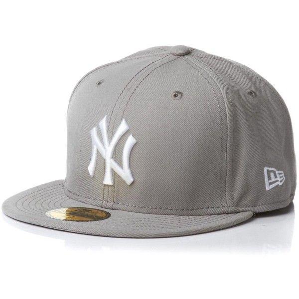 NEW ERA Cap MLB Basic Neyyan grey white ($13) ❤ liked on Polyvore