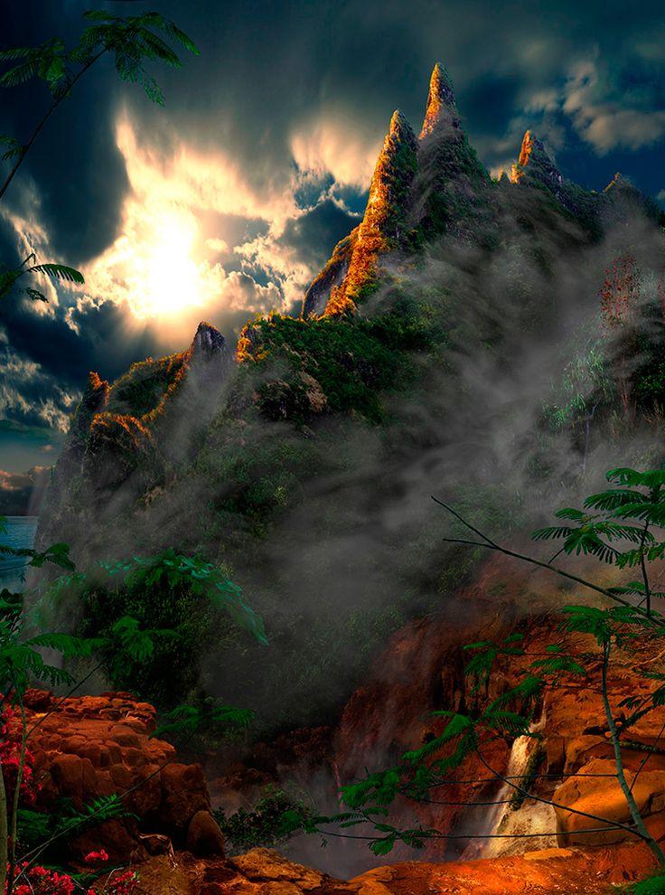 Rising Up On Ke'e (Half past the dawn) / Satoshi Matsuyama  #Satoshi Matsuyama #Hawaii #art #Landscape