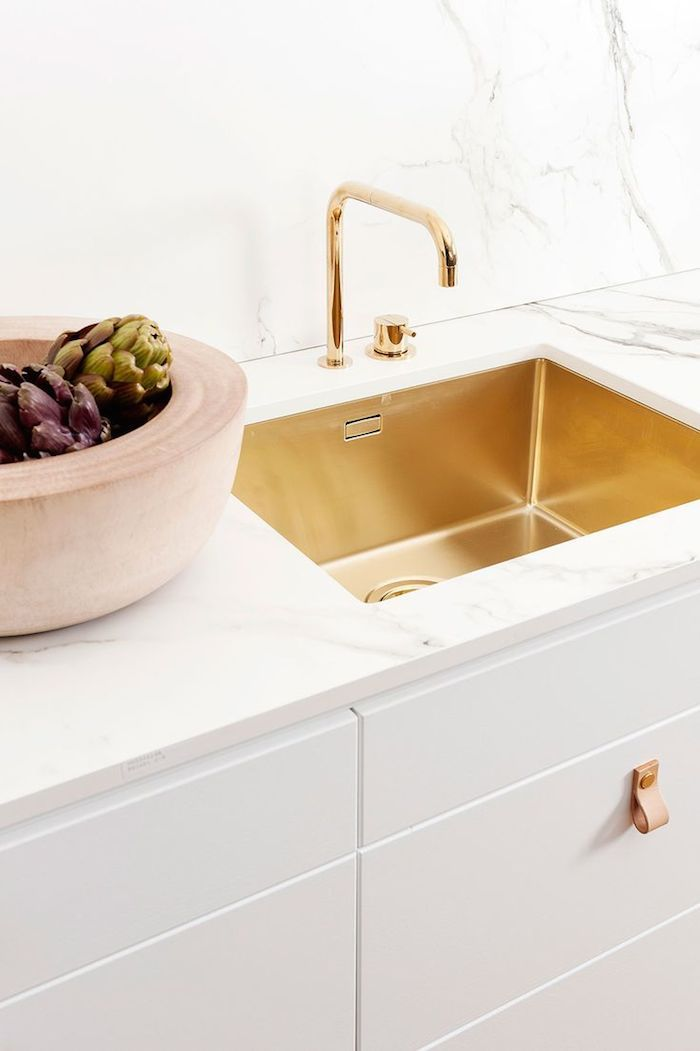 brass kitchen sink and faucet!