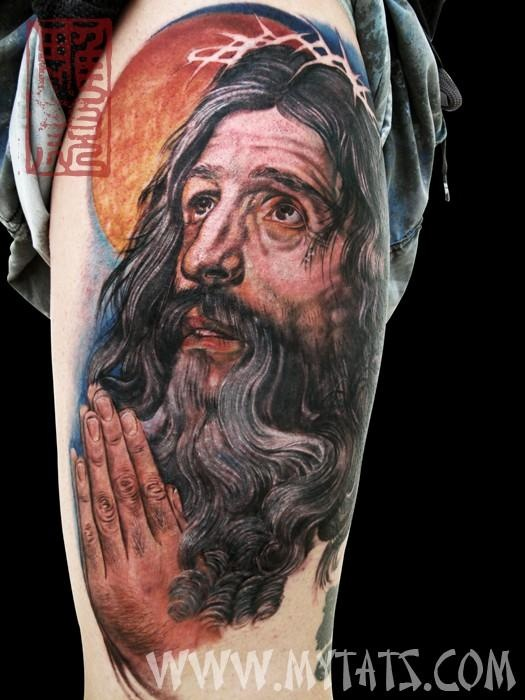 Color portrait of Jesus, done by Jess Yen (Horiyen)  初代彫顔の作品-イエスキリスト [jess@mytats. com]