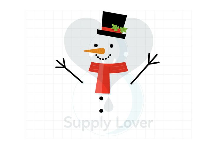 SNOWMAN Clip-Art Commercial Use, Winter, Snow, Christmas, Top Hat, Mistletoe, Red Scarf, White, Black, Coal, Carrot, Happy - A0064