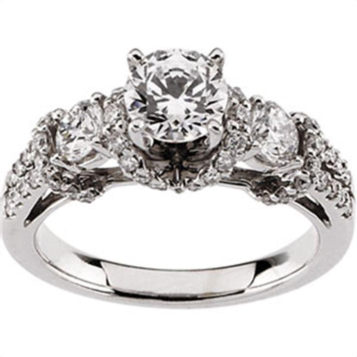 1 ct tw Three Stone Diamond Semi-Set Engagement Ring - Matthew Erickson Jewelers
