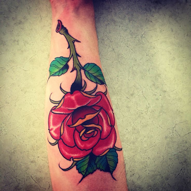Beautiful Rose Forearm Tattoo Classic American Style With A Sailor Jerry Flare To It My