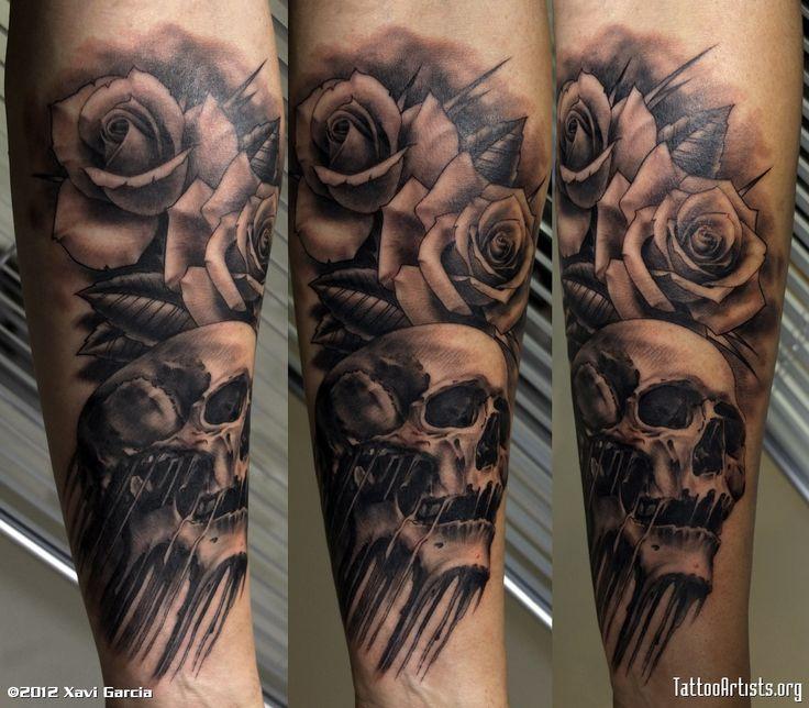 skull and flames sleeve tattoos | Rose Flowers And Skull Tattoo On Sleeve