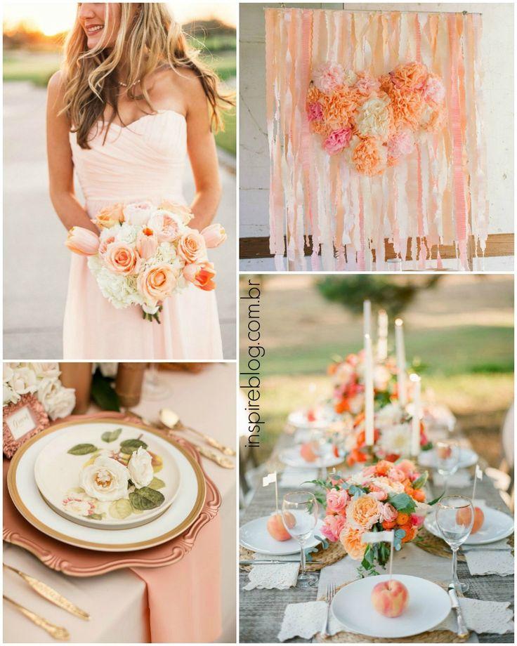 Inspire-se no coral e laranja para a decoração do seu casamento –indo de acessórios, flores, bouquet até a cor do seu vestido.