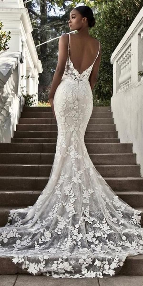 Sexy mermaid lace open back wedding dress.