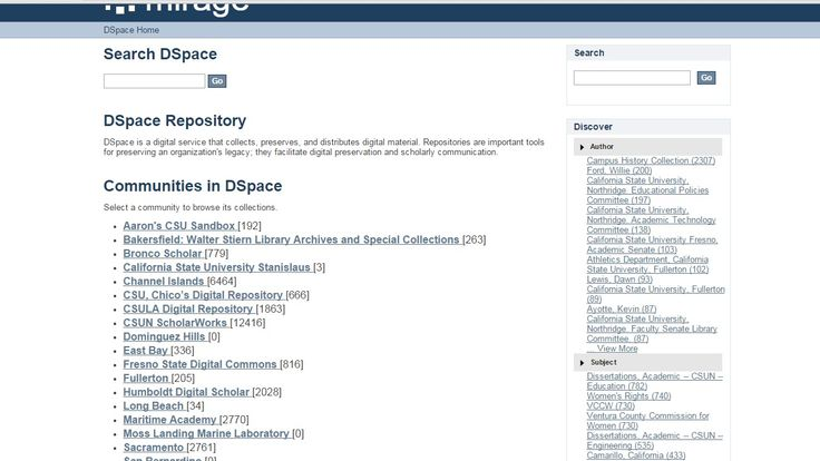 DSpace Repository, homepage to all CSU IR.