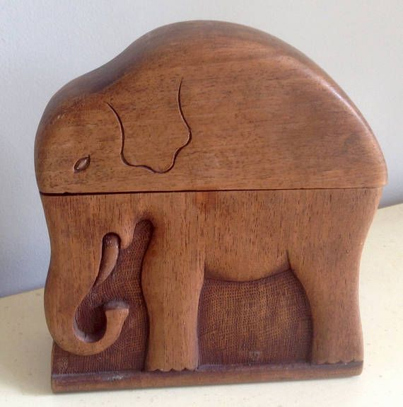 Vintage Wooden Cigarette Box in shape of an Elephant.