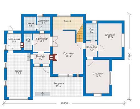 Планировка первого этажа :: Проект дома из кирпича 70-94