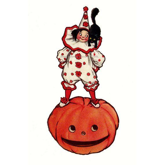 Halloween Fabric Block  Clown w Pumpkin Jack O by KatyDidsFabrics