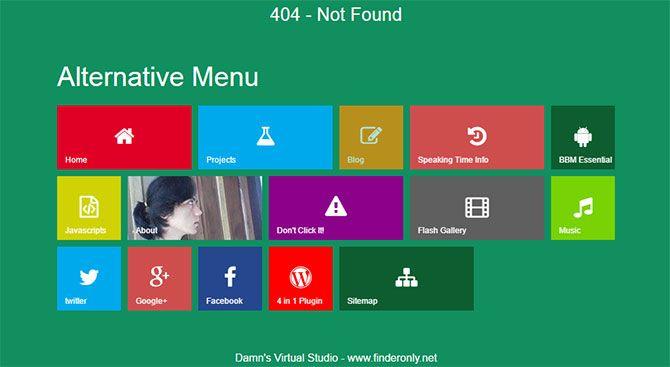 Contoh Halaman 404 Keren Style Modern Metro Kreasi DVS