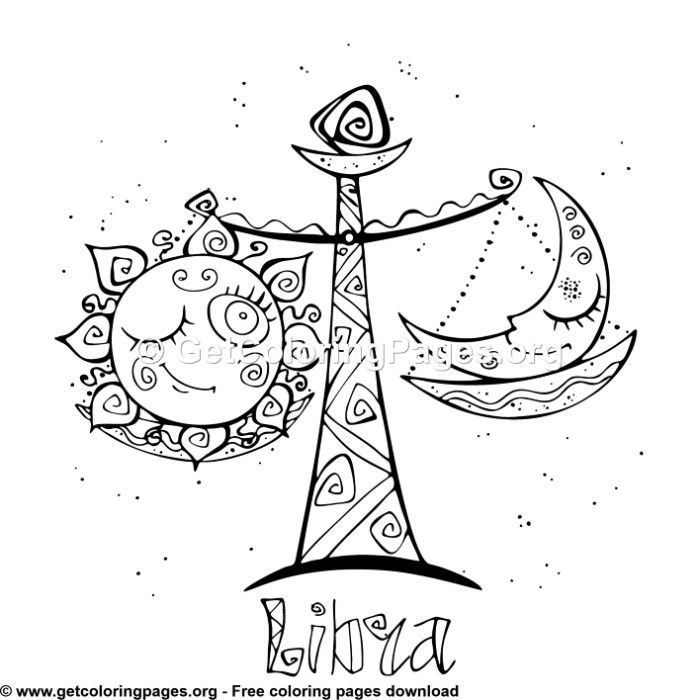 Zodiac For Kids Libra Coloring Pages Moon Coloring Pages Cute Coloring Pages Cool Coloring Pages